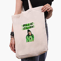 Еко сумка шоппер біла Біллі Айлиш (Billie Eilish) (9227-1207-1) экосумка шопер 41*39*8 см, фото 1