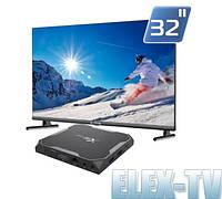"""КОМПЛЕКТ Телевизор EUROSKY 32"""" + IP приставка X96 Max Plus 4/32"""