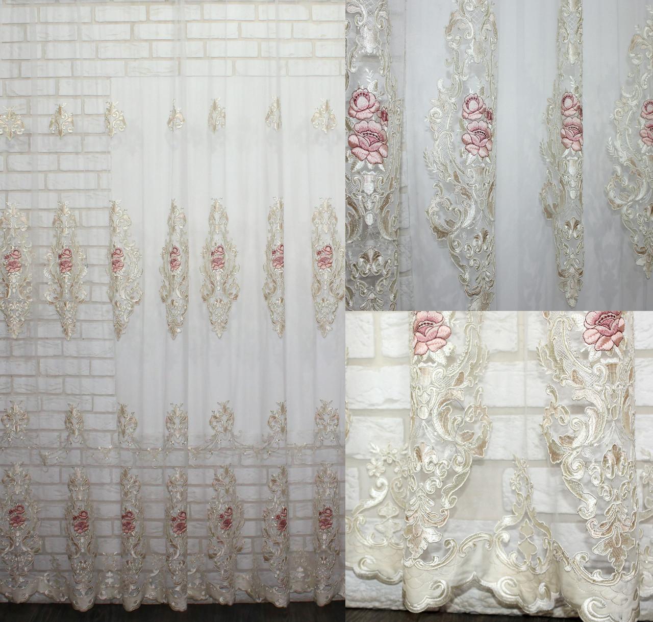 Тюль фатин бархат с вышивкой (Троянди), цвет шампань с розовым. Код 600т