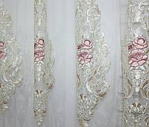 Тюль фатин бархат с вышивкой (Троянди), цвет шампань с розовым. Код 600т, фото 2