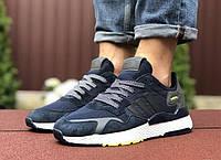 Мужские кроссовки в стиле Adidas nite jogger синие текстиль и натуральный замш, фото 1