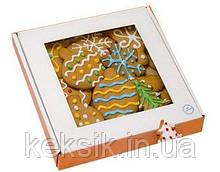 Коробка для пряников белая с окошком 20*20*3 см