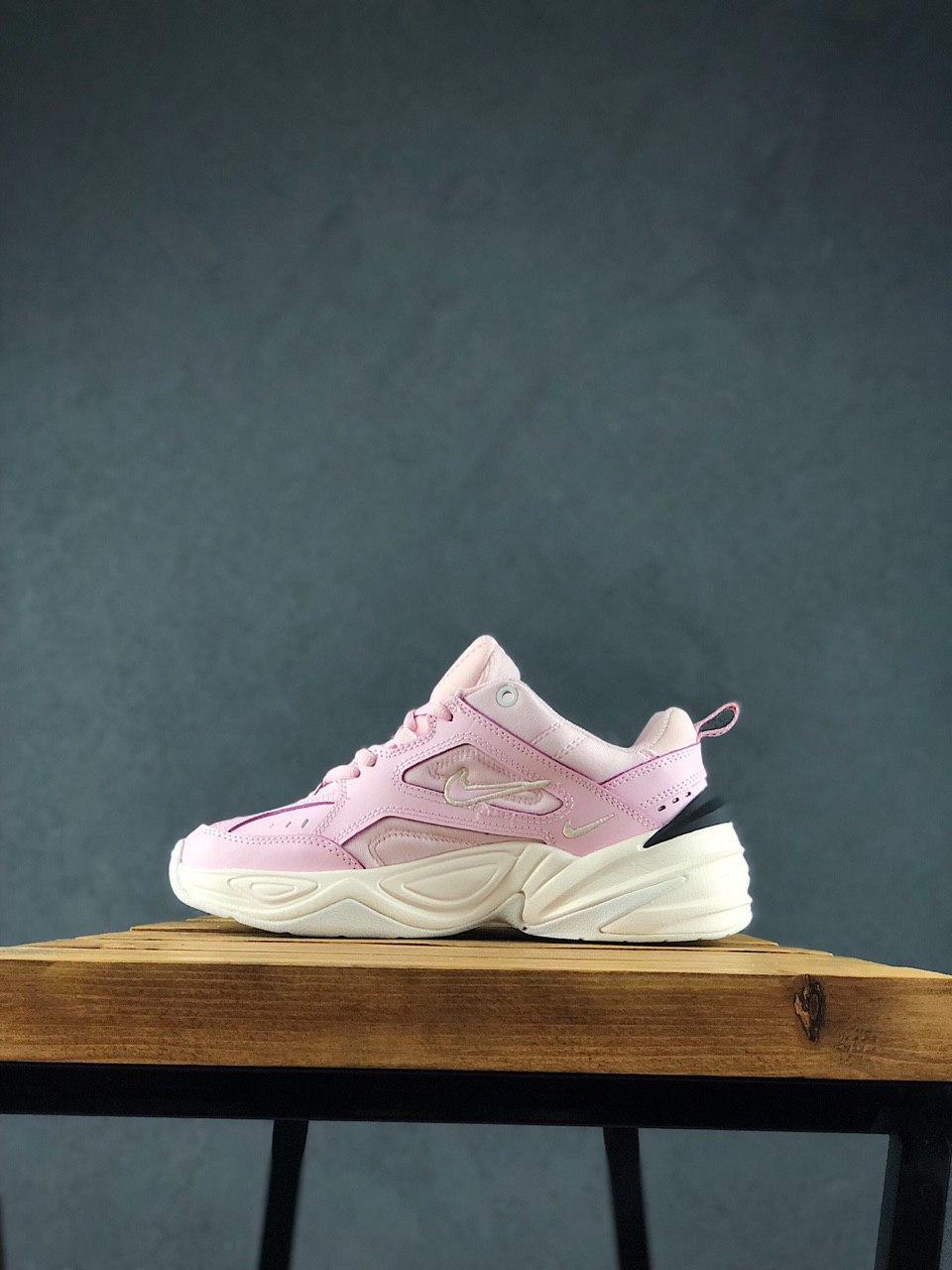 Женские осенние кроссовки Nike M2k Tekno (pink), кроссовки Найк М2к Текно (Реплика ААА)