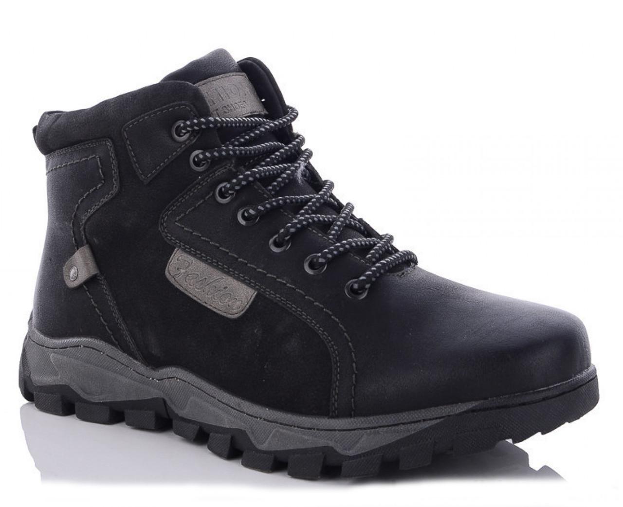 Мужские зимние ботинки BR-S из кожзама черные 45 р. - 30 см 1260666461