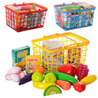 Детская корзина с продуктами (23 предмета), игрушечные продукты и товары, супермаркет,корзинка, фото 1