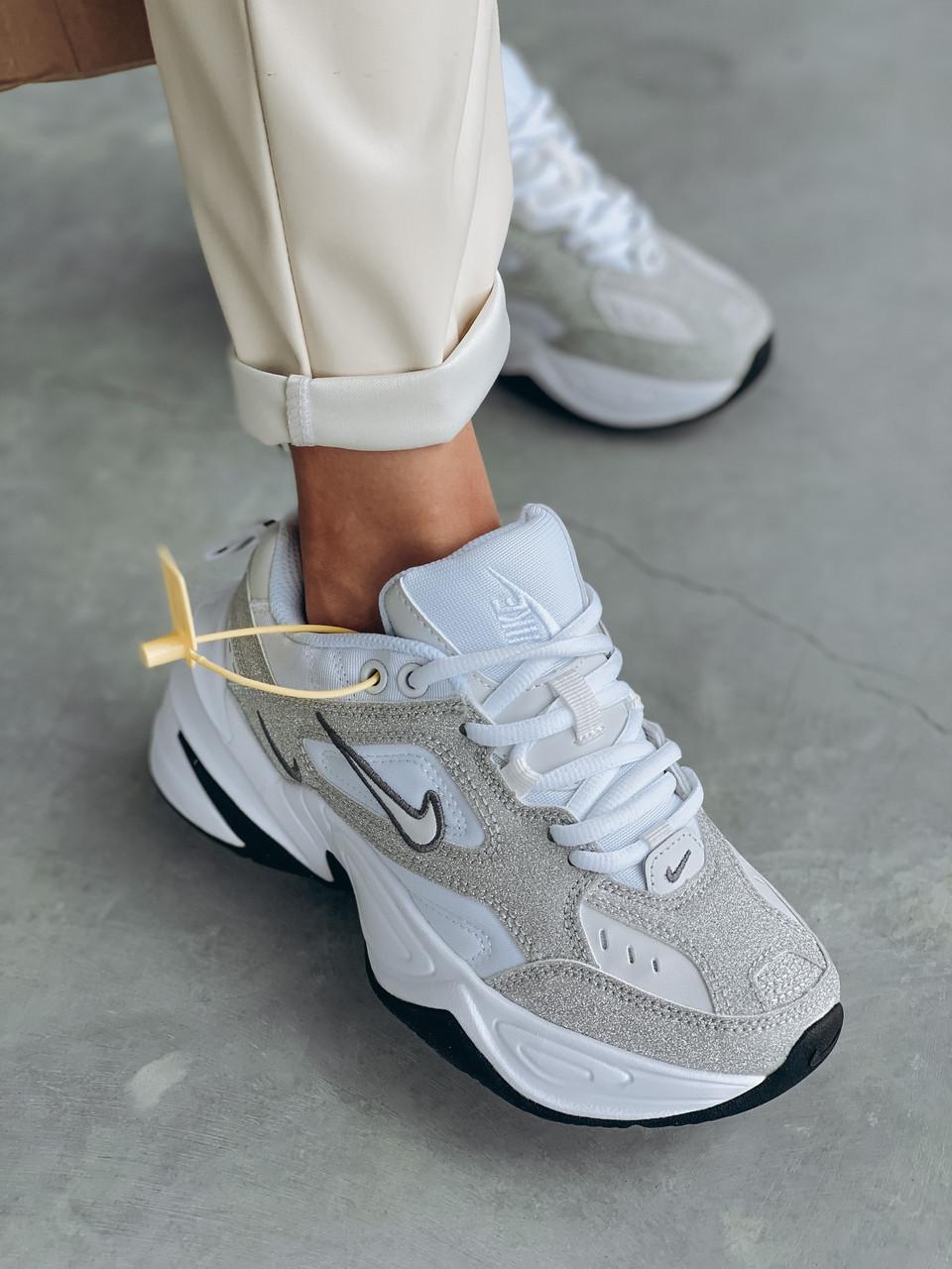 Женские осенние кроссовки Nike M2k Tekno (с блесками), кроссовки Найк М2к Текно (Реплика ААА)