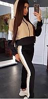 Черный спортивный костюм на молнии женский, фото 1
