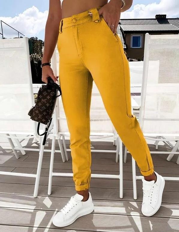 Трикотажные джинсы женские