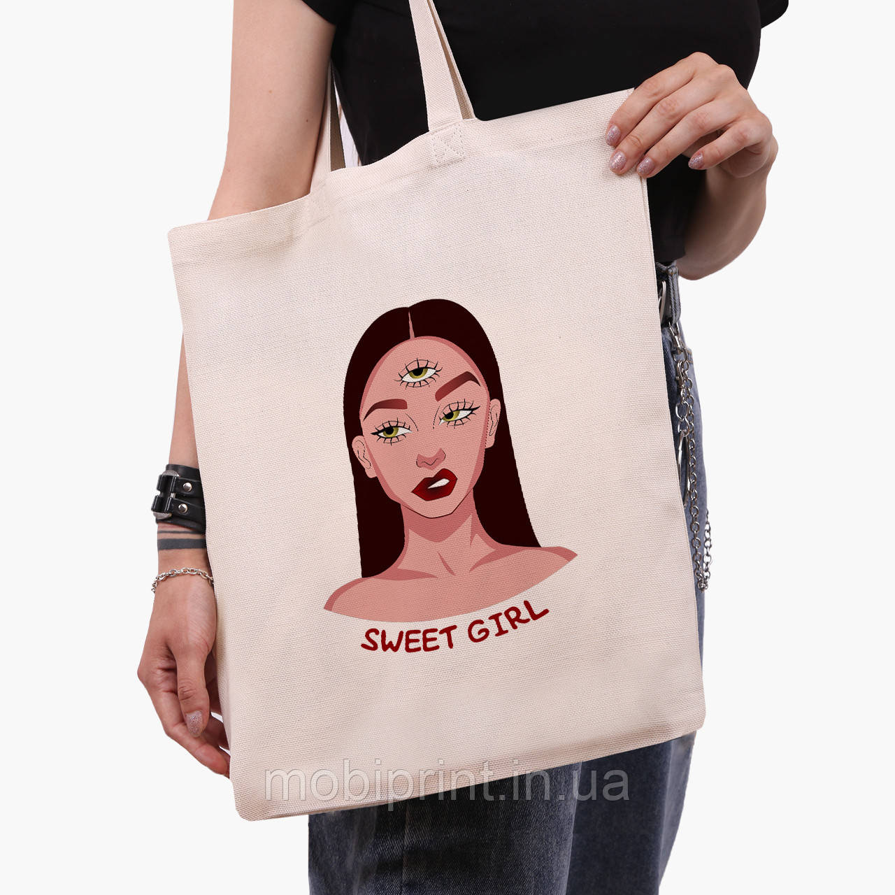 Эко сумка шоппер Милая девушка Диджитал Арт (Sweet girl) (9227-1634)  экосумка шопер 41*35 см