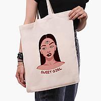Эко сумка шоппер Милая девушка Диджитал Арт (Sweet girl) (9227-1634)  экосумка шопер 41*35 см, фото 1