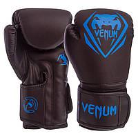 Боксерские перчатки для тренировок и спаррингов VENUM Полиуретан На липучке Черный-синий (BO-8351) 8 унций, фото 1
