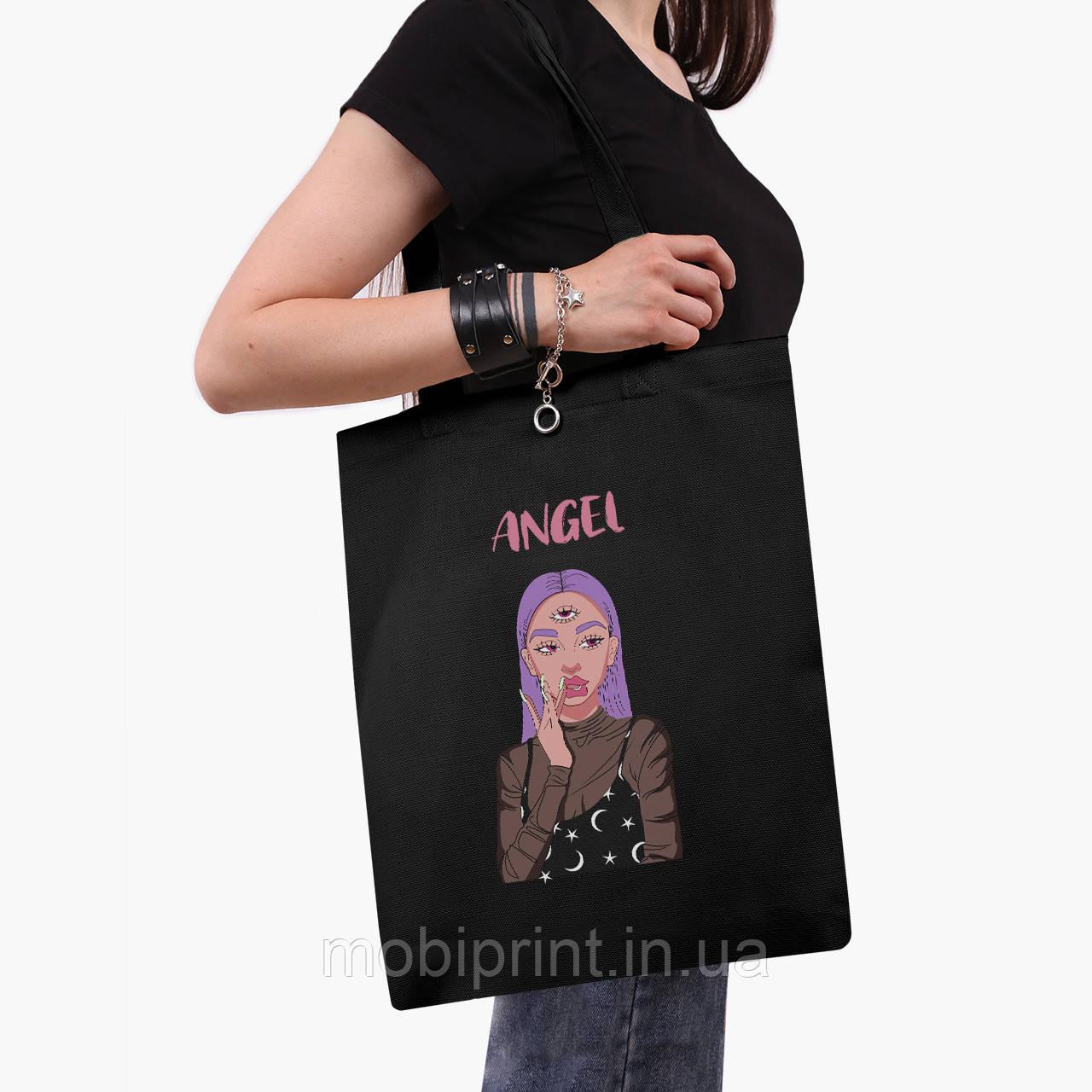 Эко сумка шоппер черная Ангел Диджитал Арт (Angel) (9227-1635-2)  экосумка шопер 41*35 см