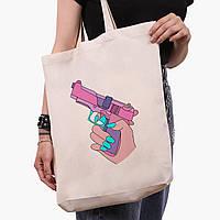 Эко сумка шоппер белая Убивство Диджитал Арт (Kill Digital art) (9227-1636-1)  экосумка шопер 41*39*8 см, фото 1