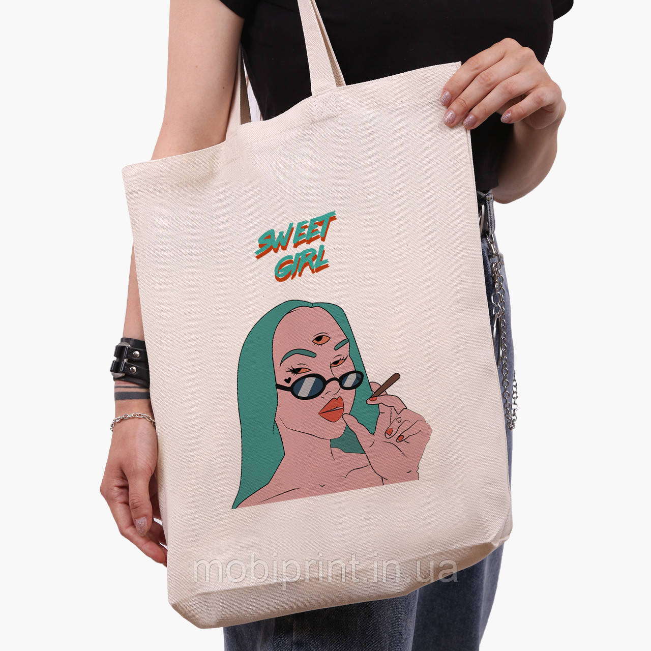 Еко сумка шоппер біла Мила дівчина Діджитал Арт (Sweet girl) (9227-1638-1) экосумка шопер 41*39*8 см