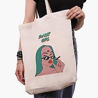 Еко сумка шоппер біла Мила дівчина Діджитал Арт (Sweet girl) (9227-1638-1) экосумка шопер 41*39*8 см, фото 1