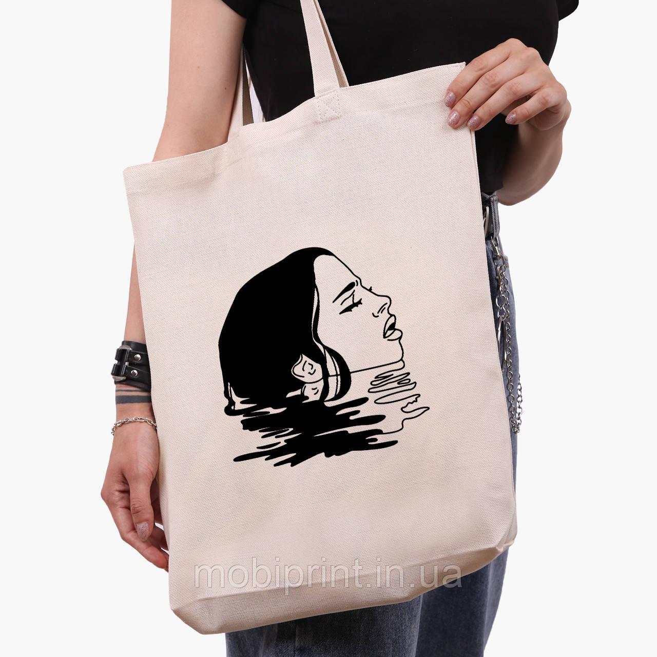 Эко сумка шоппер белая Контурный минимализм (Contour minimalism) (9227-1362-1)  экосумка шопер 41*39*8 см
