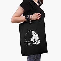 Эко сумка шоппер черная Контурный минимализм (Contour minimalism) (9227-1362-2)  экосумка шопер 41*35 см , фото 1