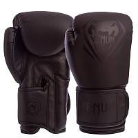 Боксерские перчатки для тренировок и спаррингов VENUM На липучке Полиуретан Черный (BO-8351) 8 унций, фото 1