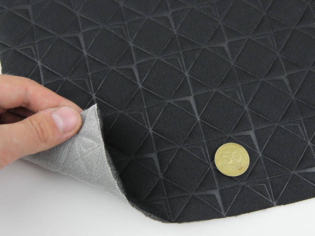 Тканина стьобана на поролоні 4 мм і сіткою, чорно-сірий, ромб у квадраті, ширина 1,80 м