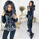 Женский теплый спортивный костюм  жилетка батник и штаны трехнить на флисе+синтепон размер:42-44, 46-48, 50-52, фото 8