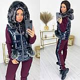 Женский теплый спортивный костюм  жилетка батник и штаны трехнить на флисе+синтепон размер:42-44, 46-48, 50-52, фото 5