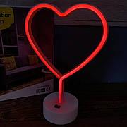 Светодиодный неоновый светильник Сердце настольный детский ночник беспроводной лед led красный свет