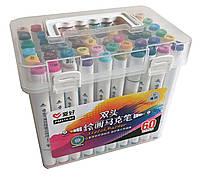 Набор скетч-маркеров 60 шт. для рисования двусторонних Aihao sketchmarker код: PM514-60, фото 3