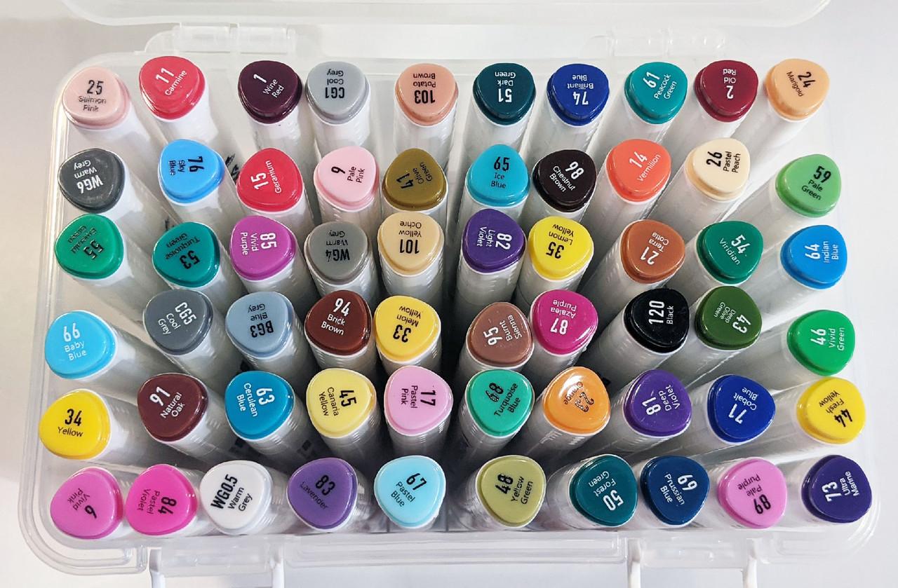 Набор скетч-маркеров 60 шт. для рисования двусторонних Aihao sketchmarker код: PM514-60