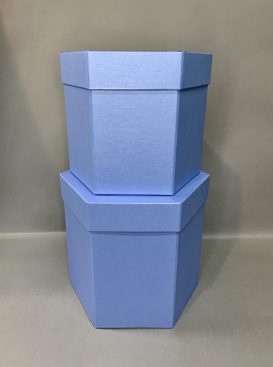Коробка шестигранная(Серо-голубой перламутр)