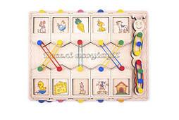 Деревянная игрушка половинки Домики ассоциации, Розумний Лис