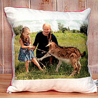 Подушка плюш квадрат с фото, логотипом, текстом подарок сюрприз 35 см х 35 см.