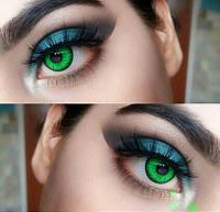Зеленые линзы Cos для карих глаз, яркие насыщенные зеленые линзы. Кукольные зеленые линзы