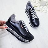 Женские кроссовки на платформе черная кожа, фото 4