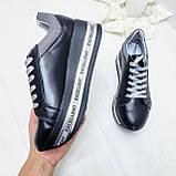 Женские кроссовки на платформе черная кожа, фото 3