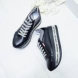 Женские кроссовки на платформе черная кожа, фото 2