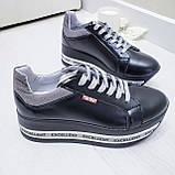 Женские кроссовки на платформе черная кожа, фото 5