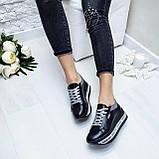 Женские кроссовки на платформе черная кожа, фото 6