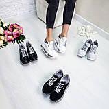 Женские кроссовки на платформе черная кожа, фото 7