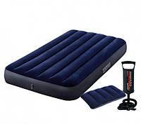 Компект! Матрас надувной одноместный Intex 64757, 99х191х25 см + ручной наcоc + 1 подушkа