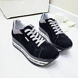 Женские кроссовки на платформе черная замша, фото 4