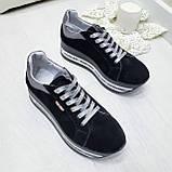 Женские кроссовки на платформе черная замша, фото 8