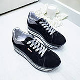 Женские кроссовки на платформе черная замша, фото 6
