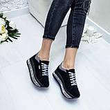 Женские кроссовки на платформе черная замша, фото 5