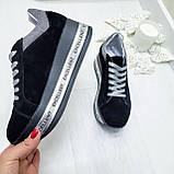 Женские кроссовки на платформе черная замша, фото 7
