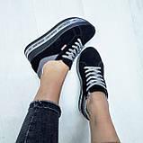 Женские кроссовки на платформе черная замша, фото 2