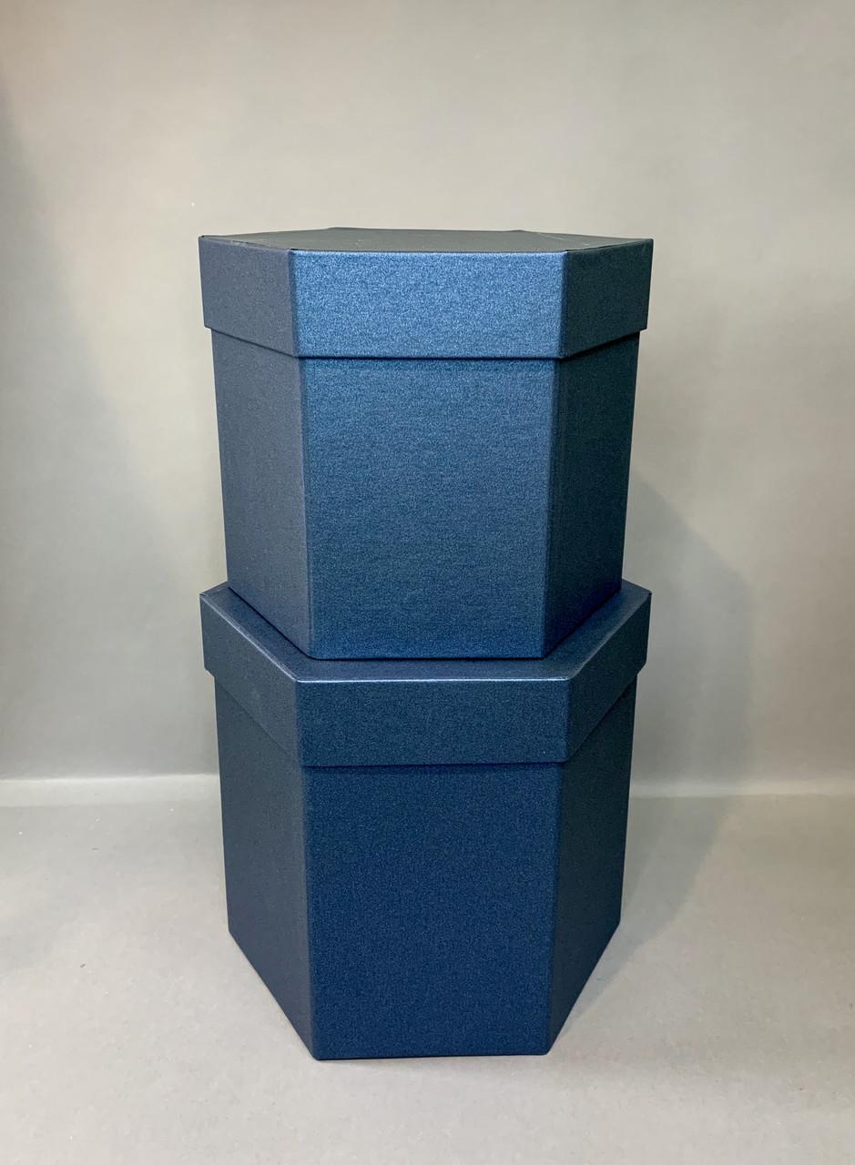 Коробка шестигранная(синий перламутр)