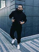 Мужской спортивный костюм Оверсайз с начесом(утепленный) демисезонный Весна-Осень черного цвета
