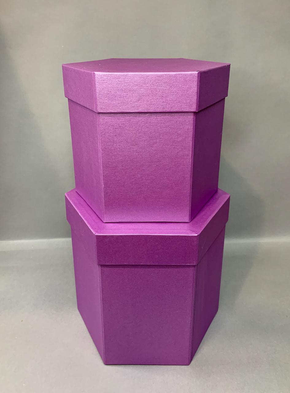 Коробка шестигранная(т.фиолет перламутр)