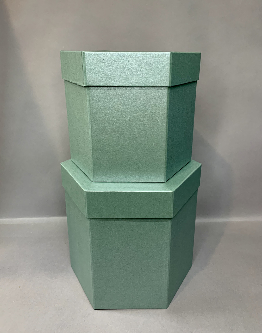 Коробка шестигранная(изумруд серебро)
