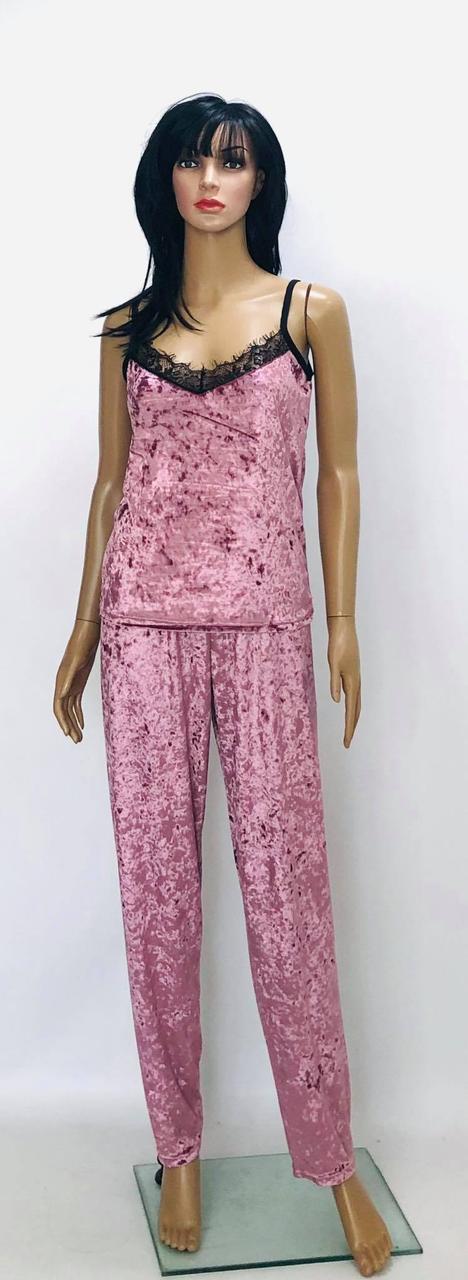 Велюровая пижама майка и штаны с хлопковым кружевом